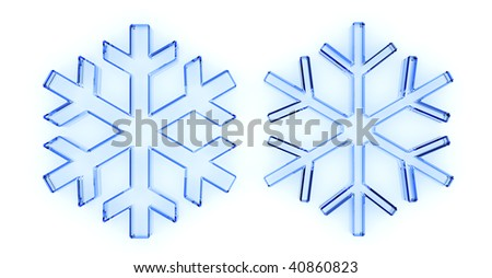 blue glass snow isolated on white - stock photo