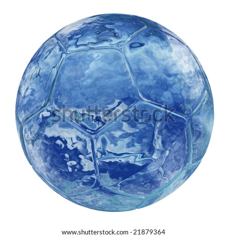 blue glass soccer ball isolated on white background, for sport and recreation designs isolated on white background - stock photo