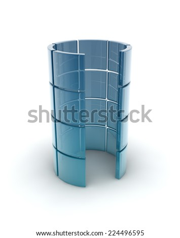 blue glass tube composed by glass cubes. - stock photo
