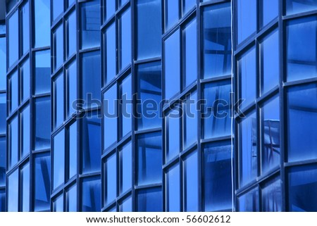 blue glass wall of building