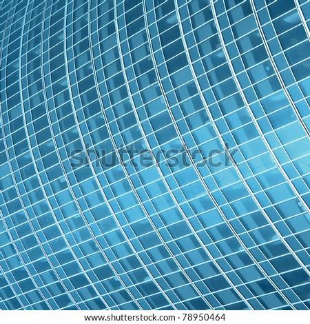 blue glass wall of luxury hotel - stock photo