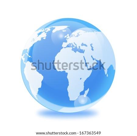 Blue glass world globe  isolated on white background. - stock photo