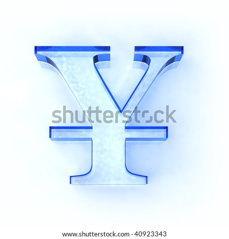 blue glass yen sign isolated on white - stock photo