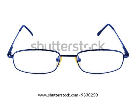 blue glasses isolated on white - stock photo