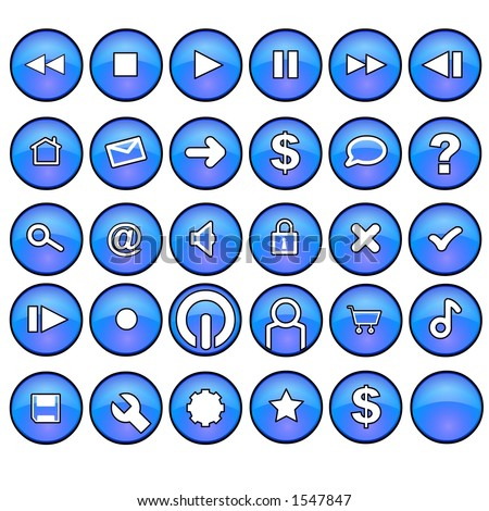 Blue glassy interface buttons.