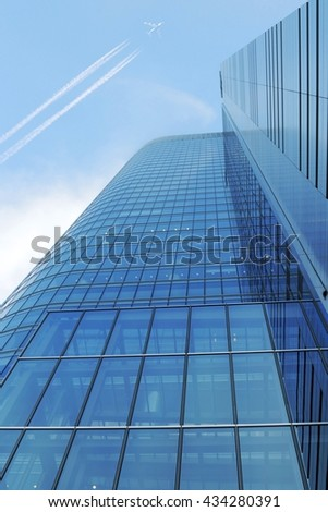 Blue glassy office building