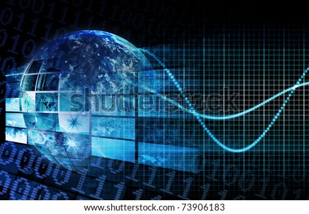 Blue Global Business Technology Network as a Concept - stock photo