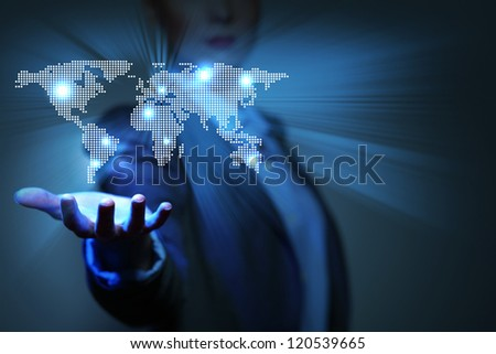 Blue global technology background with the planet Earth map - stock photo