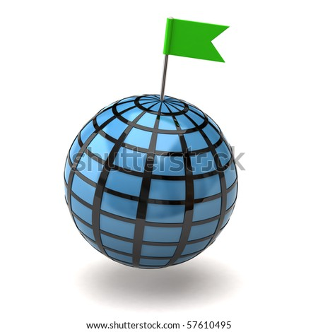 Blue globe and flag pin - stock photo