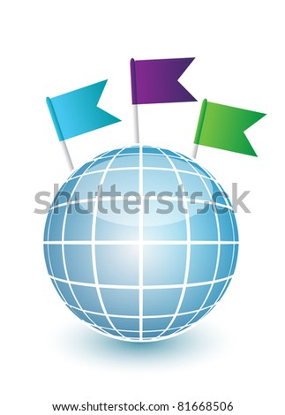 Blue globe and flag pins over white - stock photo