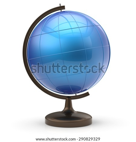 Blue globe blank sphere planet Earth international global geography school studying world cartography education symbol icon. 3d render isolated on white background - stock photo