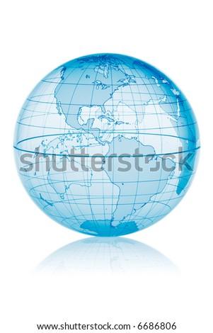 Blue globe isolated on white background with reflection - stock photo