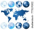 Blue globe kit and map - stock vector