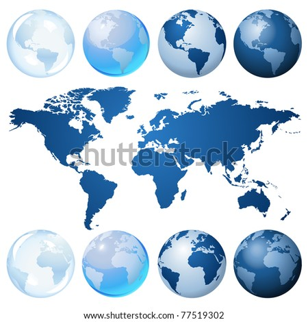 Blue globe kit and map - stock photo