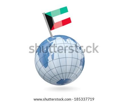 Blue globe with flag of kuwait isolated on white - stock photo