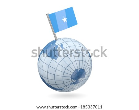 Blue globe with flag of somalia isolated on white - stock photo