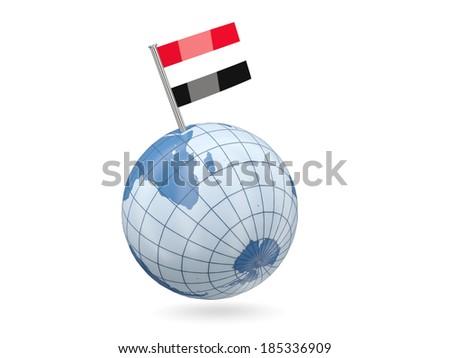 Blue globe with flag of yemen isolated on white - stock photo