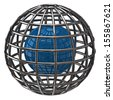 Blue globe with meridians and parallels - stock photo