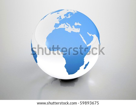 Blue globe with reflection - stock photo
