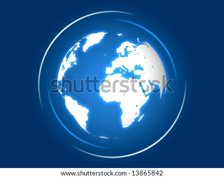 blue globe world with shining rays over blue background
