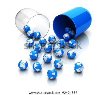 Blue globes from drug capsule - stock photo