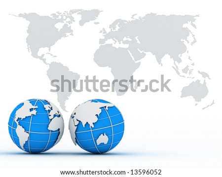 Blue globes on background of the map