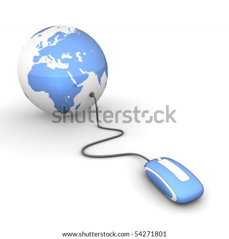 blue glossy computer mouse connected to a blue glossy globe - stock photo