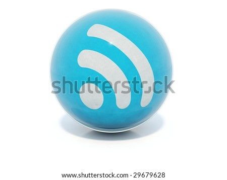 Blue glossy RSS icon in glass ball