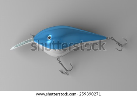 Blue glossy short fishing plug with white belly, transparent plastic lip and two treble hooks lying on gray checkered background - stock photo