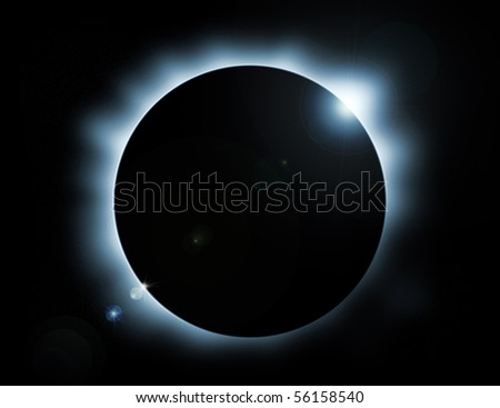 blue glow eclipse with stars in background - stock photo