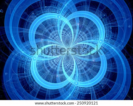 Blue glowing circles, higgs boson, computer generated abstract background - stock photo