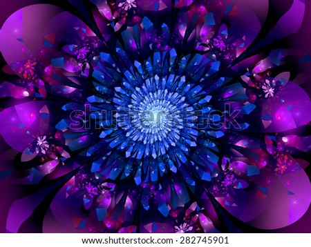 Blue glowing crystals in space, computer generated abstract background