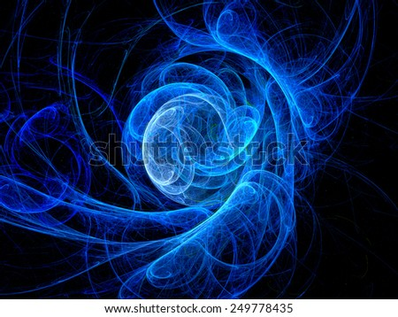 Blue glowing curves in space fractal, computer generated abstract background - stock photo