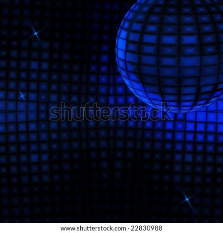 Blue glowing disco ball background - stock photo