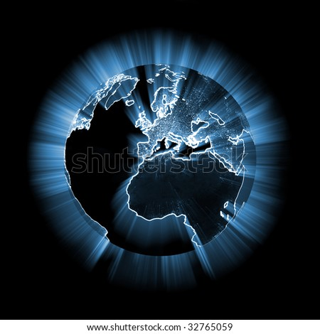 Blue glowing earth - more variations of this picture in portfolio - stock photo