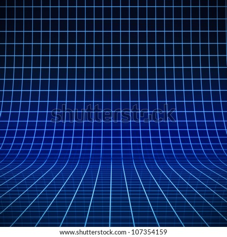 Blue glowing grid of curved 3D stage - stock photo