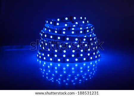 Blue glowing LED garland, strip  - stock photo