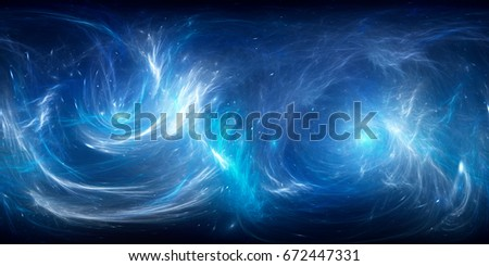 Blue glowing nebula in deep space 360 degrees panorama, computer generated abstract background, 3D rendering