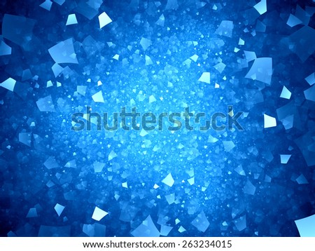 Blue glowing neon shapes in space, computer generated abstract background - stock photo