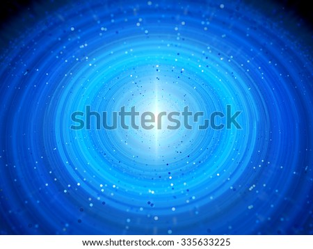 Blue glowing solar system with particles in early stage, computer generated abstract background - stock photo