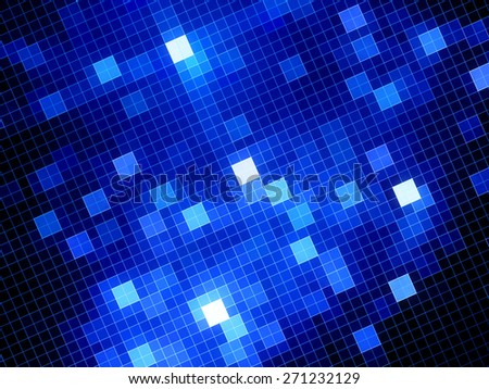 Blue glowing squares, computer generated abstract background - stock photo
