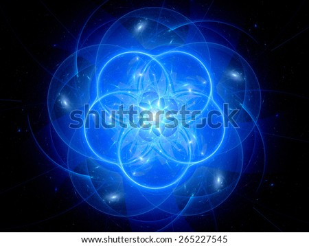 Blue glowing ufo in space, computer generated abstract background - stock photo