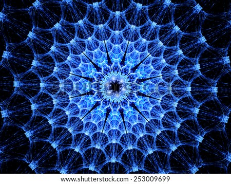Blue glowing virus shape fractal, computer generated abstract background - stock photo
