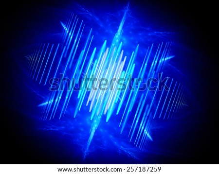 Blue glowing wave shaped signal, computer generated abstract background