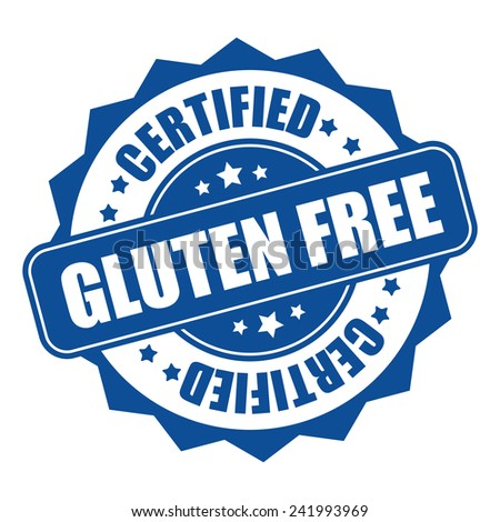 Blue gluten free certified icon, tag, label, badge, sign, sticker isolated on white - stock photo