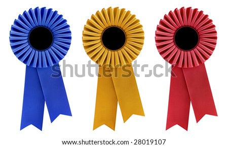 Blue, gold and red rosettes, with copy space, isolated on white. - stock photo