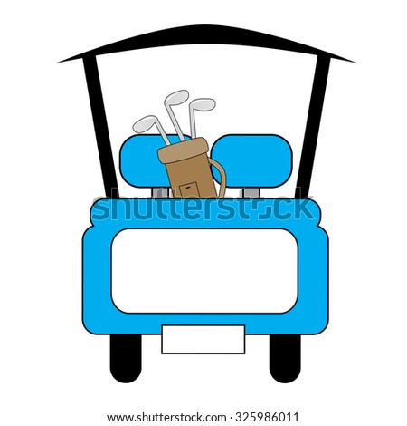 Blue Golf Cart - stock photo