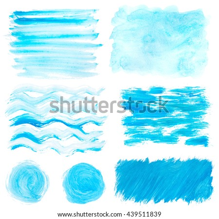 blue gouache wavy stains set isolated on white