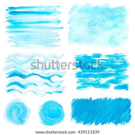 blue gouache wavy stains set isolated on white - stock photo