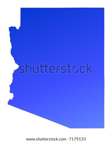 Arizona Usa Outline Map Shadow Detailed Stock Illustration - Arizona map usa